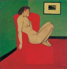 valloton -nude seated in red armchair, 1897