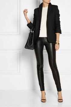 stretch-leather skinny pants. Would LOVE pants like these!