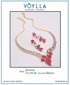 #Shop #Glorious Ruby Cz Blooming Dales #Necklace #Set for #Women online in #India at best #prices from #Voylla.com.