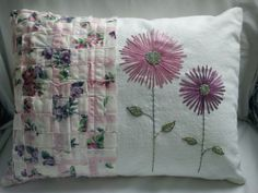 Shabby Chic Embroidered Pillow by FoxgloveFrenchKnots on Etsy, $40.00