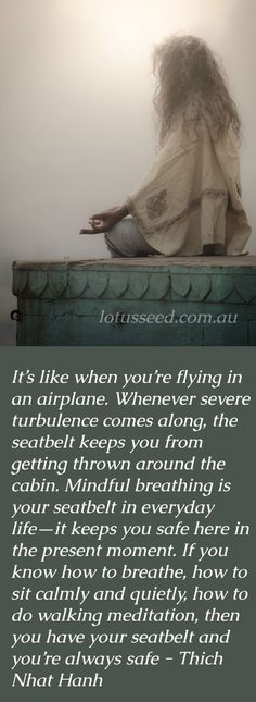 It's like when you're flying in an airplane. Whenever severe turbulence comes along, the seat belt keeps you from getting thrown around the cabin. Mindful breathing is your seat belt in everyday life—it keeps you safe here in the present moment. If you know how to breathe, how to sit calmly and quietly, how to do walking meditation, then you have your seat belt and you're always safe. - Thich Nhat Hanh #mindfulness #beathing #buddhism #meditation #hanh quote #walkingmeditationmindfulness