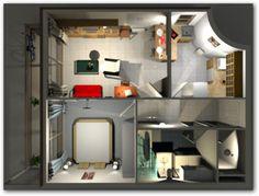 Plano en 3D de departamento