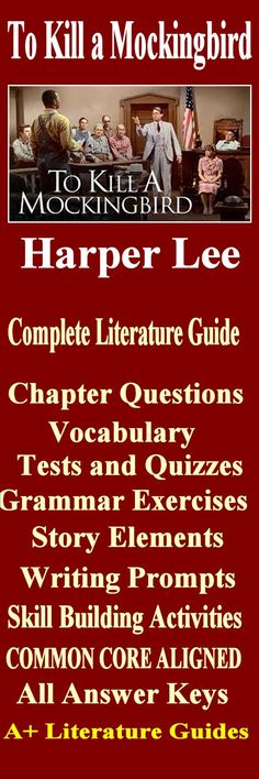 208 page complete literature guide for the novel, To Kill a Mockingbird by Harper Lee. It includes everything you need to teach and test this novel.  Common-Core Aligned.
