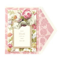Greeting card from Anna Griffin is as fancy — and fanciful — as the designer's invitation creations. Anna Griffin Inc, Anna Griffin Cards, Pictures Of Anna, Trends Magazine, Pink Cards, Vintage Roses, Thank You Cards, Cardmaking, Beautiful Flowers