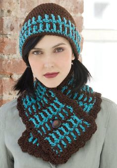 Yarnspirations is the spot to find countless free intermediate crochet patterns, including the Red Heart Lake House Hat & Scarf. Browse our large free collection of patterns & get crafting today! Crochet Adult Hat, Crochet Cap, Crochet Beanie, Cute Crochet, Crochet Scarves, Crochet Shawl, Crochet Crafts, Crochet Clothes, Knitted Hats