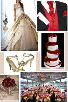 Red and gold wedding theme