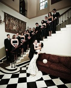 wedding party pictures on stairs Wedding Stairs, Wedding Pics, Wedding Events, Wedding Catering, Wedding Ideas, Weddings, Pictures On Stairs, Minion Pumpkin, Old Hollywood Wedding