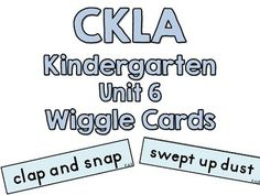 This pack includes CKLA Wiggle Cards for kindergarten, unit 6.  In the lower-right corner of each wiggle card youll see the lesson that the wiggle cards are associated with.  EX:  K.6.2: K for kindergarten, 6 for unit 6, and 2 for lesson 2.  This makes it easy to organize the cards by lesson if you choose.