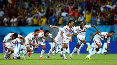 RECIFE, BRAZIL - JUNE 29: Costa Rica players celebrate the win after a penalty shootout during the 2014 FIFA World Cup Brazil Round of 16 match between Costa Rica and Greece at Arena Pernambuco on June 29, 2014 in Recife, Brazil. (Photo by Ryan Pierse - FIFA/FIFA via Getty Images)  2014 FIFA World Cup Brazil™: Costa Rica-Greece - Photos - FIFA.com