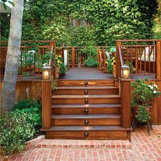 wood deck with steps to backyard patio, deck design inspirational ideas