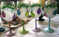 Christmas Hand Painted Wine glasses by WhitsWineGlasses on Etsy