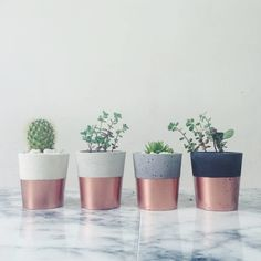 Copper dipped small cement pots / planters or candle holders for cactus, succulents or candles in black, white or grey porcelain concrete Handmade Home, Deco Rose, Uni Room, Deco Nature, Concrete Pots, Home Decor Shops, Minimalist Decor, Minimalist Kitchen, Minimalist Interior