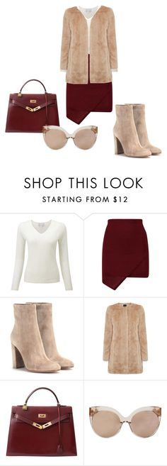"""""""Nude and dark red"""" by dzenita-219 on Polyvore featuring moda, Gianvito Rossi, Oasis, Hermès, Linda Farrow, women's clothing, women, female, woman i misses"""