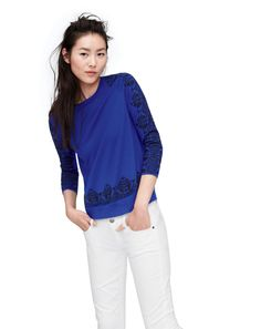 NOV '13 Style Guide: J.Crew merino tippi embroidered lace sweater  and matchstick jean in white.