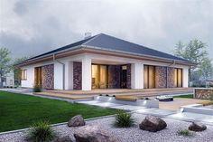Projekt domu Pogodna z garażem [A] - koszt budowy 235 tys. Classic Garden, Bungalow House Design, Sims 4 Houses, Home Fashion, Porch Decorating, Exterior Design, My House, House Plans, New Homes
