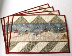 Quilt Placemats, Quilted Placemat Patterns, Placemat Ideas, Table Runner And Placemats, Mug Rug Patterns, Table Runner Pattern, Quilted Table Runners, Christmas Mug Rugs, Christmas Placemats