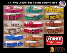 Puppy Collars Personalized Cute Puppy Collars by PitkaLeather