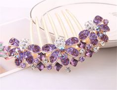 Bling2Bling Artificial Crystal Flower Hair Clips Women Hair Decorations Hair Comb Pin Hairpin (Purple) ** Find out more about the great product at the image link.