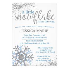 Winter Baby Shower Invitation - Blue Snowflake