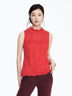Beautiful, bold tank top with a Mandarin neckline