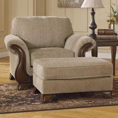 Lanett Chair & Ottoman with Faux Wood Accents by Signature Design by Ashley at Godby Home Furnishings Furniture Near Me, Ashley Furniture Sale, Furniture, Living Room Arrangements, Chair And Ottoman Set, Mattress Furniture, Ottoman In Living Room, Accent Chairs, Leather Furniture