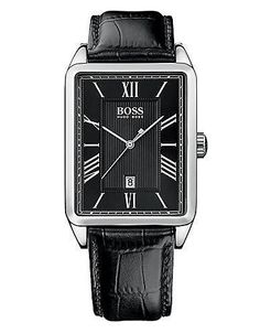 Men's Black Band Square Face Watch