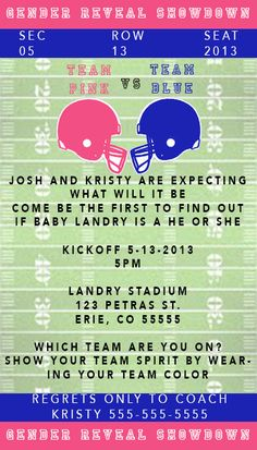 Football Themed Gender Reveal Invitaion