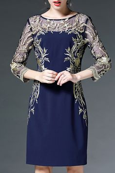 See-Through Voile Spliced Embroidery Dress