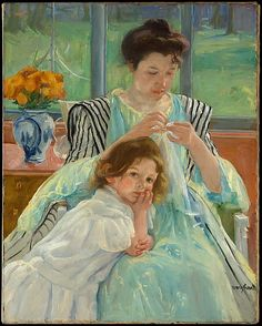 Mary Cassatt (American,  1844–1926). Young Mother Sewing,1900. A child looking at us from 1900. Note by Roger Carrier