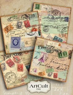 OLD LETTERS - Digital Collage Sheet 3.8x3.8 inch size Images Printable download for Coasters, Greeting cards, Scrapbook, Gift tags Art Cult