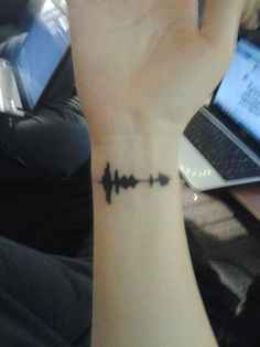 Sound wave tattoo...taking a part from a home video of my mom. :) I really am in love with this idea.