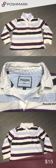 Racing Rugby White Blue Purple Long Sleeve Light