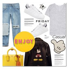 """Casual Friday"" by makeupgoddess ❤ liked on Polyvore featuring Forever 21, rag & bone, adidas, Philipp Plein, Arche, Anya Hindmarch, MCM and Lisa Perry"