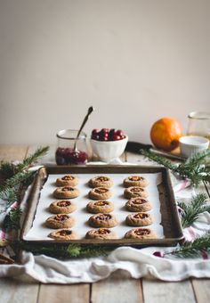gingerbread thumbprints with homemade cranberry-orange jam.