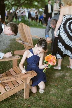 Amazingly unique guest book idea! Write well wishes for the happy couple on their porch/garden chairs! | Brae Howard Photography