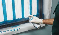 How To Paint Window Frames Apply the etch primer - painting aluminium windows Metal Windows, Aluminium Windows, Painting Metal Doors, Painting Frames, Painted Window Frames, Window Repair, Exterior Trim, Exterior Design, Interior Windows
