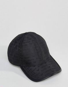 26aa88f25e1 Armani Jeans All Over Logo Baseball Cap in Black - Black Armani Hat