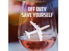 Flight Attendant gift/ ENGRAVED GLASSES/ Pilot Gift/ by TipsyHome