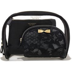 d23fcc3c2256 Victoria s Secret Black Lace Cosmetic Bag Trio (83 BRL) ❤ liked on Polyvore  featuring
