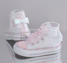 Baby/Toddler/Girls Custom Crystal *Bling* Converse - Double Row Crystals All Infant Sizes Bling Baby Shoes, Cute Baby Shoes, Baby Bling, Baby Girl Shoes, Cute Baby Girl, Girls Shoes, Bedazzled Converse, Baby Converse, Baby Sneakers
