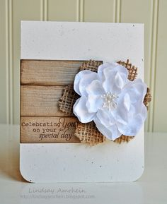 Brown paper with white flower #card #mothers #day