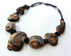 'Molten' necklace - polymer clay, acrylics, Kroma Crackle, steel wire, tektite by Christine Damm of Stories They Tell