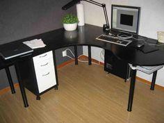 Home Office Furniture: Choosing The Right Computer Desk White Floating Corner Shelves, Black Corner Desk, Corner Bookshelves, Bookshelf Desk, Computer Desk With Hutch, Desk Hutch, Desk Cabinet, Corner Storage, Bedroom Decor
