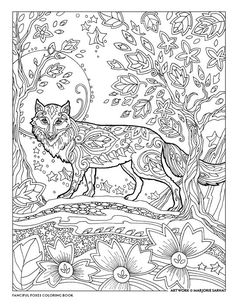 Moon Fox coloring page. Fox Coloring Page, Free Adult Coloring Pages, Animal Coloring Pages, Coloring Pages To Print, Coloring Book Pages, Free Coloring, Zentangle, Art Plastic, Diy Y Manualidades