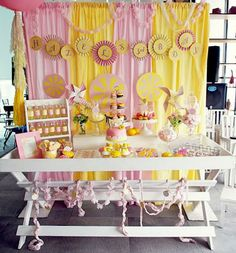 genial Sunshine Birthday Parties, First Birthday Parties, Birthday Party Themes, First Birthdays, Birthday Ideas, Birthday Candy, Pink Lemonade Party, Lemon Party, Party Desserts