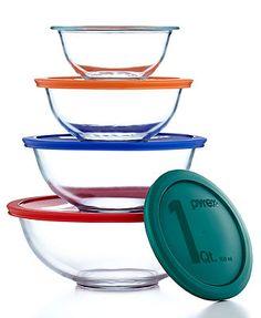 Pyrex 8 Piece Mixing Bowl Set with Colored Lids.  http://www1.macys.com/shop/product/pyrex-8-piece-mixing-bowl-set-with-colored-lids?ID=202863&CategoryID=31795&LinkType=PDPZ1