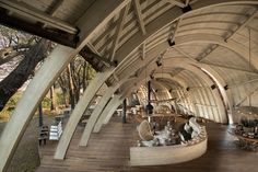 The architects replaced an old lodge building located on a Unesco World Heritage Site in northwest Botswana with a dramatic design that provides a lighter, more sustainable footprint