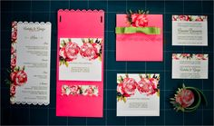 Wedding Stationery in hot pink and green colors with ribbons and peonies: invitations, cards & menu. @Alessandro Lonati