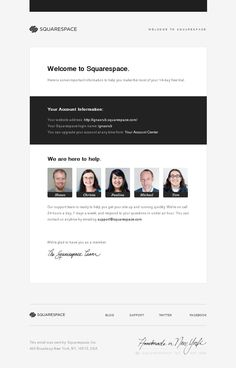 Squarespace #WelcomeEmail Birthday Email, Welcome Emails, Email Design Inspiration, Newsletter Design, Best Apps, Site Design, Customer Service, Email Marketing, Ui Ux