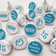 Quinceañera Hershey Kisses Party Favors or Decorations - 324 Stickers in Blue for the Perfect Party!  On Amazon.com with Free Prime 2-Day Shipping, $15.95.